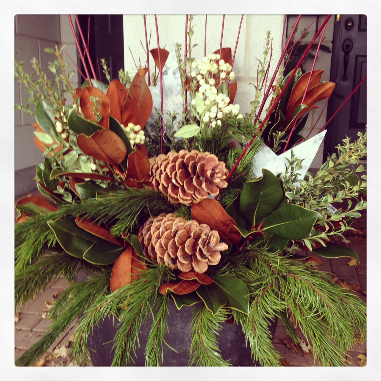 Winter evergreen urn arrangement