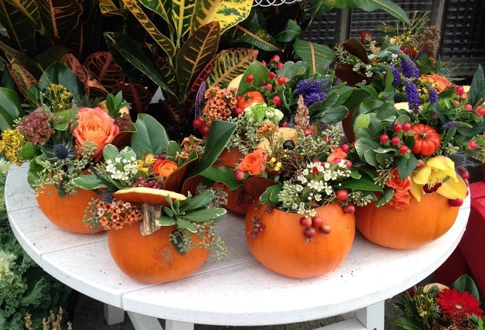 Floral arrangement in small gourd.