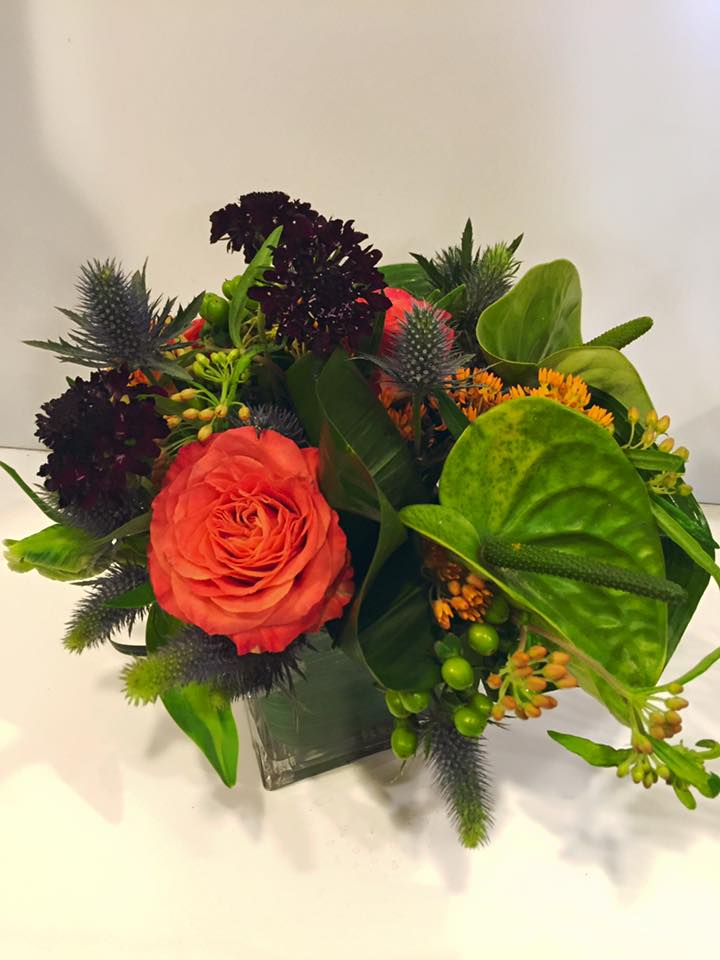 A funky and masculine vase arrangement.