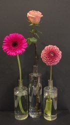Focal flowers gerbera daisy, rose and dahlia.