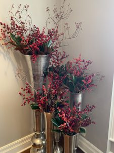 mix red ilex berries, faux berries, rose hips and magnolia