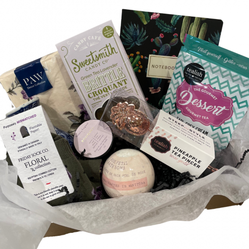 Head to toe Self care kit for mother's day with multiple items in a basket