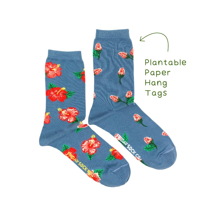 blue socks with pink and red flowers design